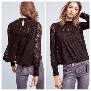 Deletta | Amanna Lace Top Black Lace Anthro Medium